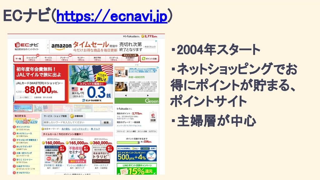 ECナビ(https://ecnavi.jp) ・2004年スタート ・ネットショッピングでお...