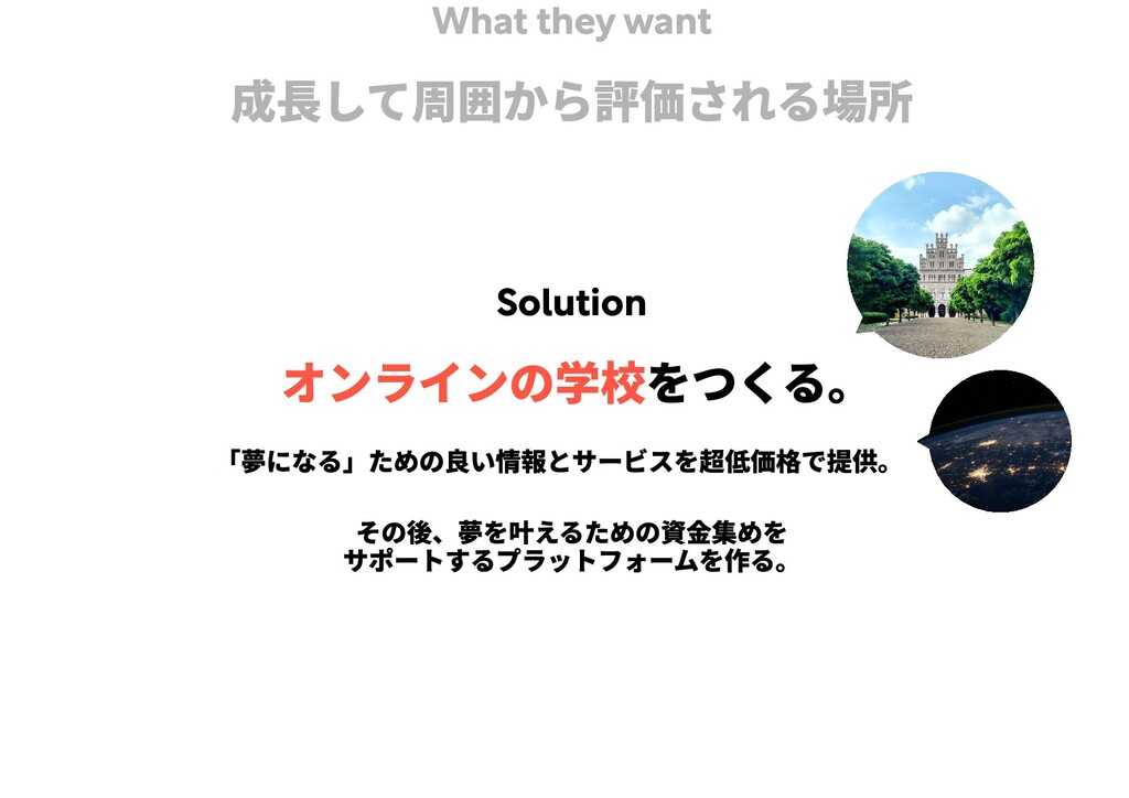 What they want 成長して周囲から評価される場所 Solution をつくる。  ...