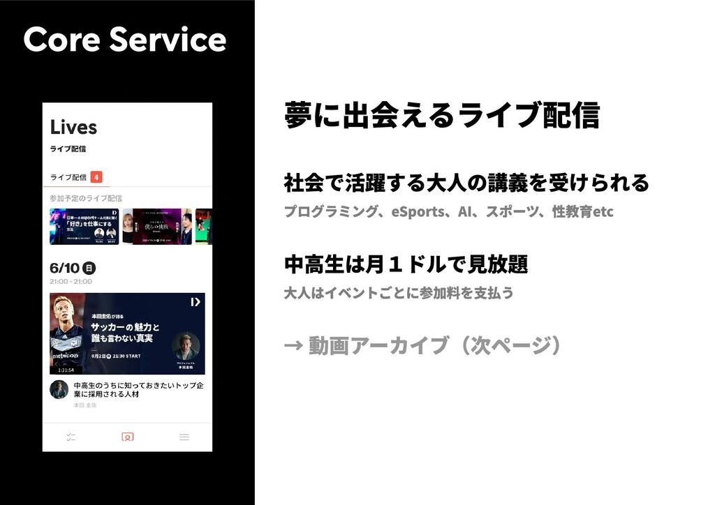 Core Service 夢に出会えるライブ配信 社会で活躍する大人の講義を受けられる プログ...