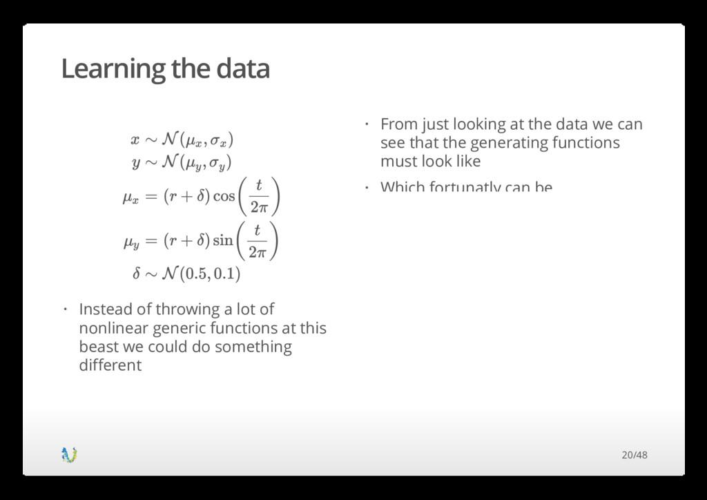 Learning the data x y μ x μ y δ ∼ ∼ = = ∼ N ( ,...