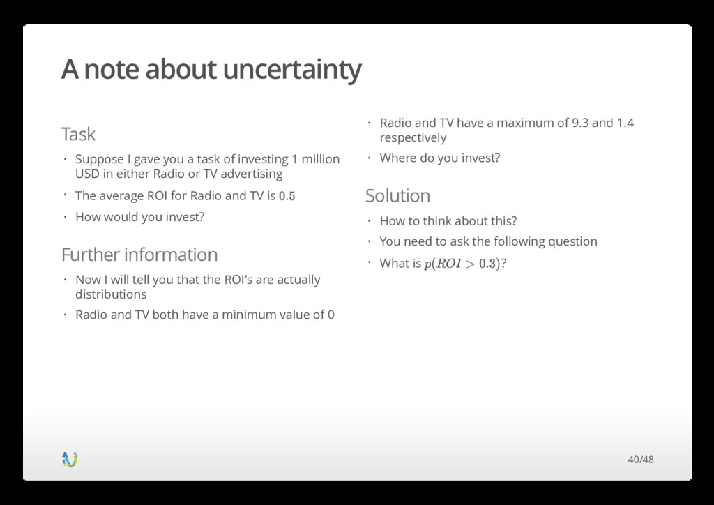 A note about uncertainty Task Further informati...