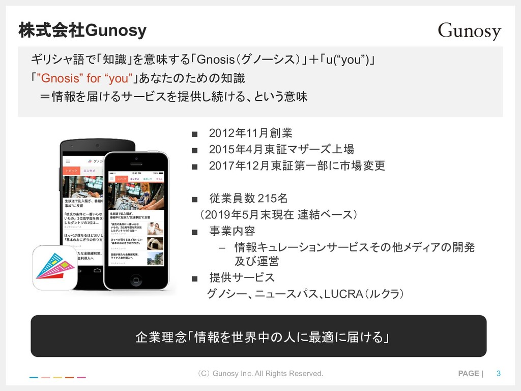 (C) Gunosy Inc. All Rights Reserved. PAGE | 3 株...