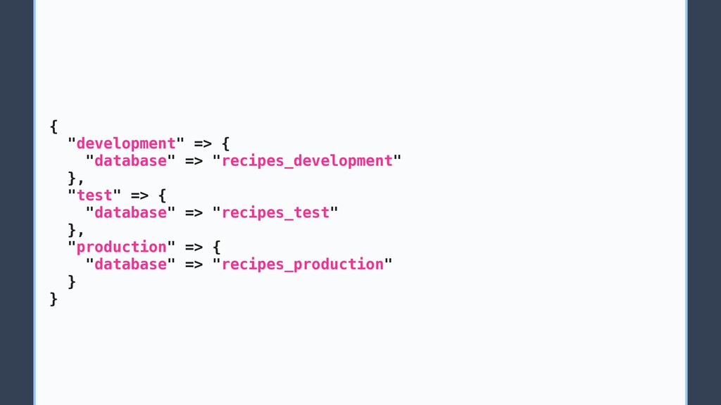 "{ ""development"" => { ""database"" => ""recipes_dev..."