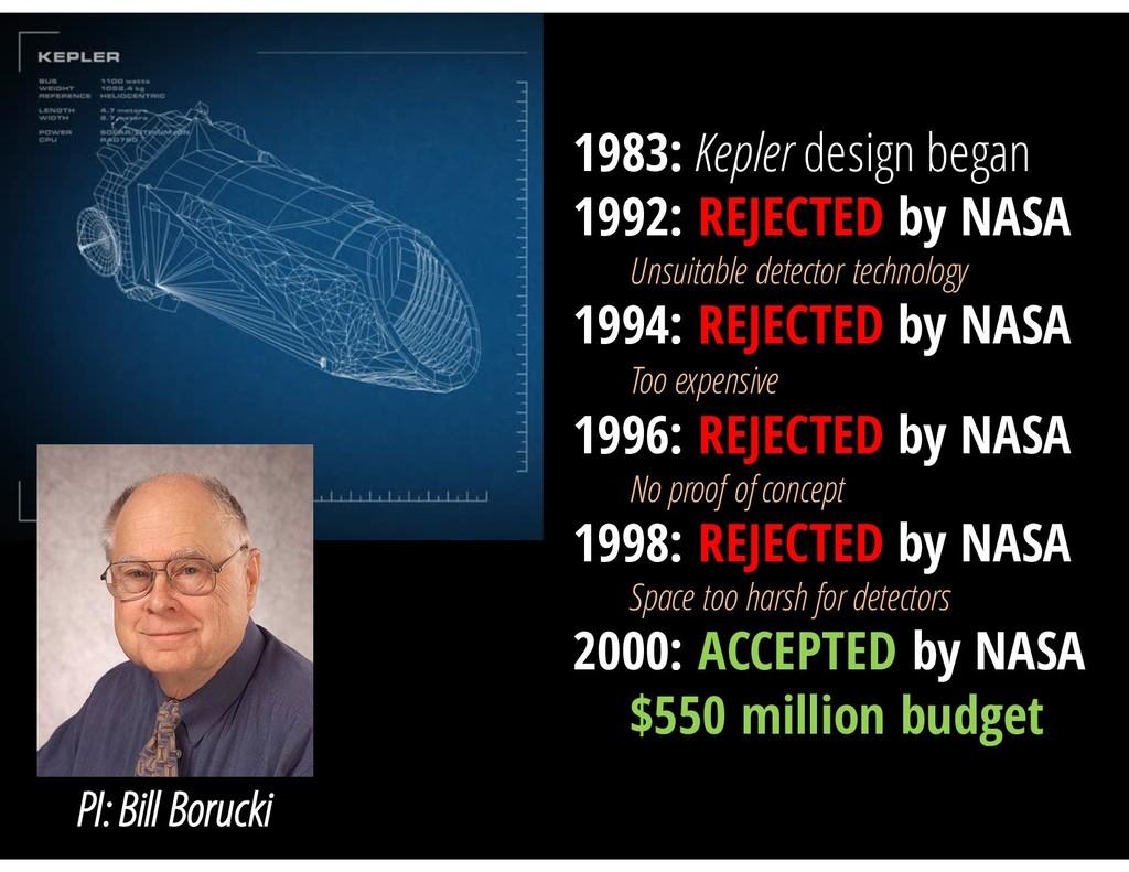 PI: Bill Borucki 1983: Kepler design began 1992...