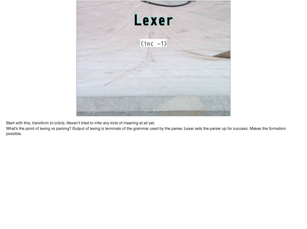 Lexer (inc -1) Start with this, transform to (c...
