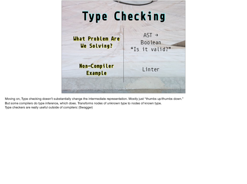 Type Checking What Problem Are We Solving? AST ...