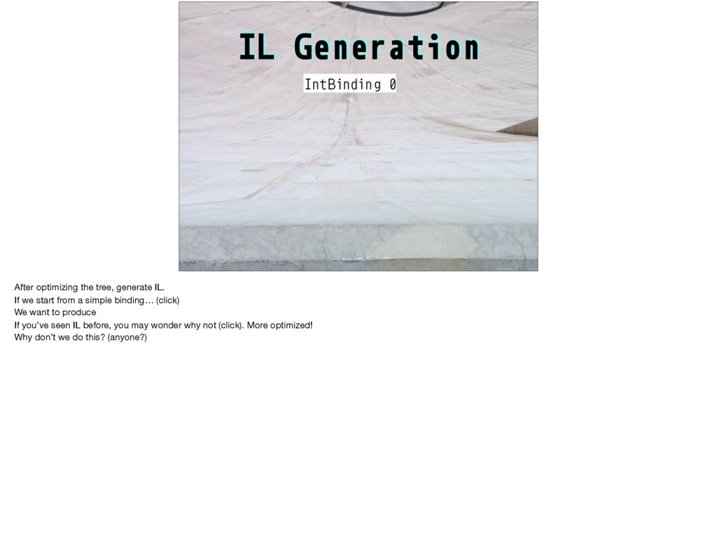 IL Generation IntBinding 0 After optimizing the...