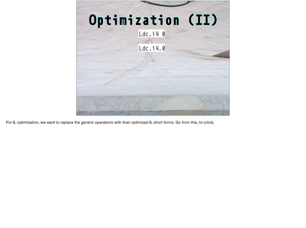 Optimization (II) Ldc.i4 0 Ldc.i4.0 For IL opti...