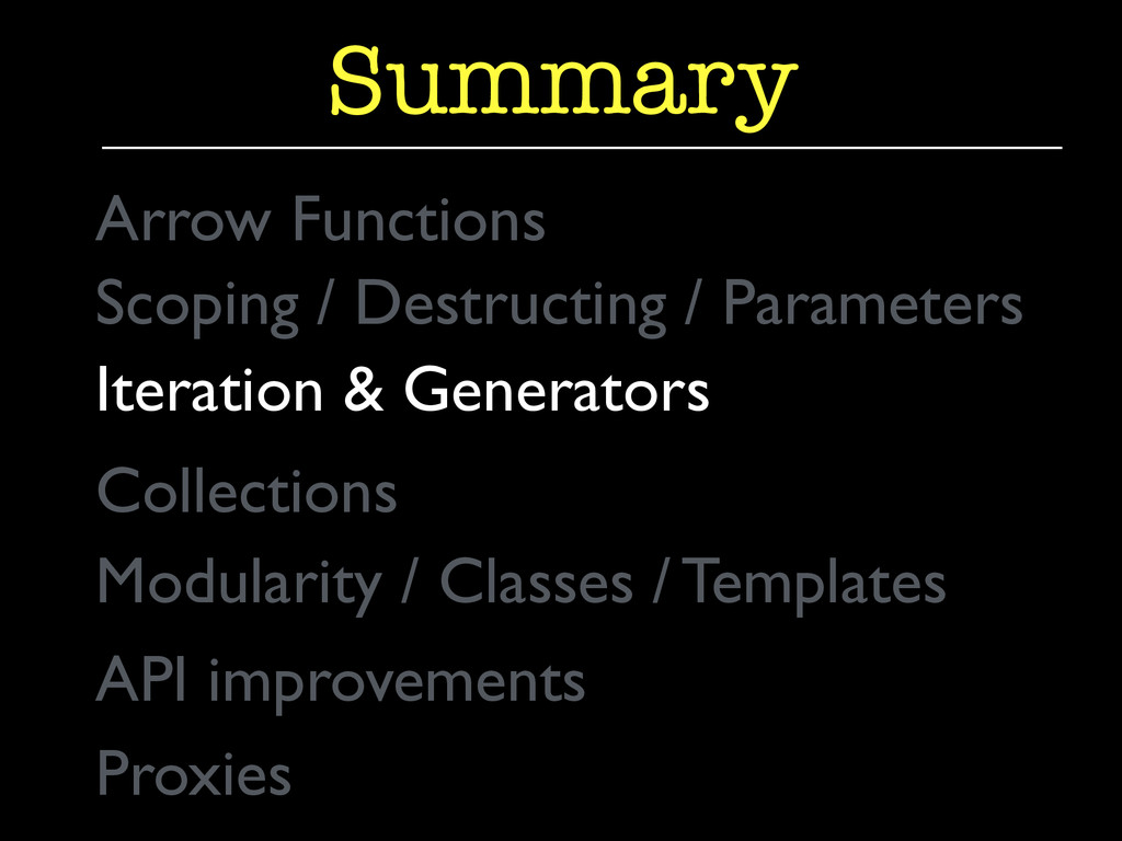 Iteration & Generators  Summary Collections ...