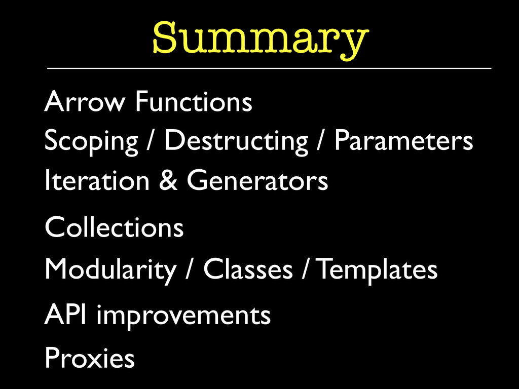 Iteration & Generators  Summary Arrow Functio...