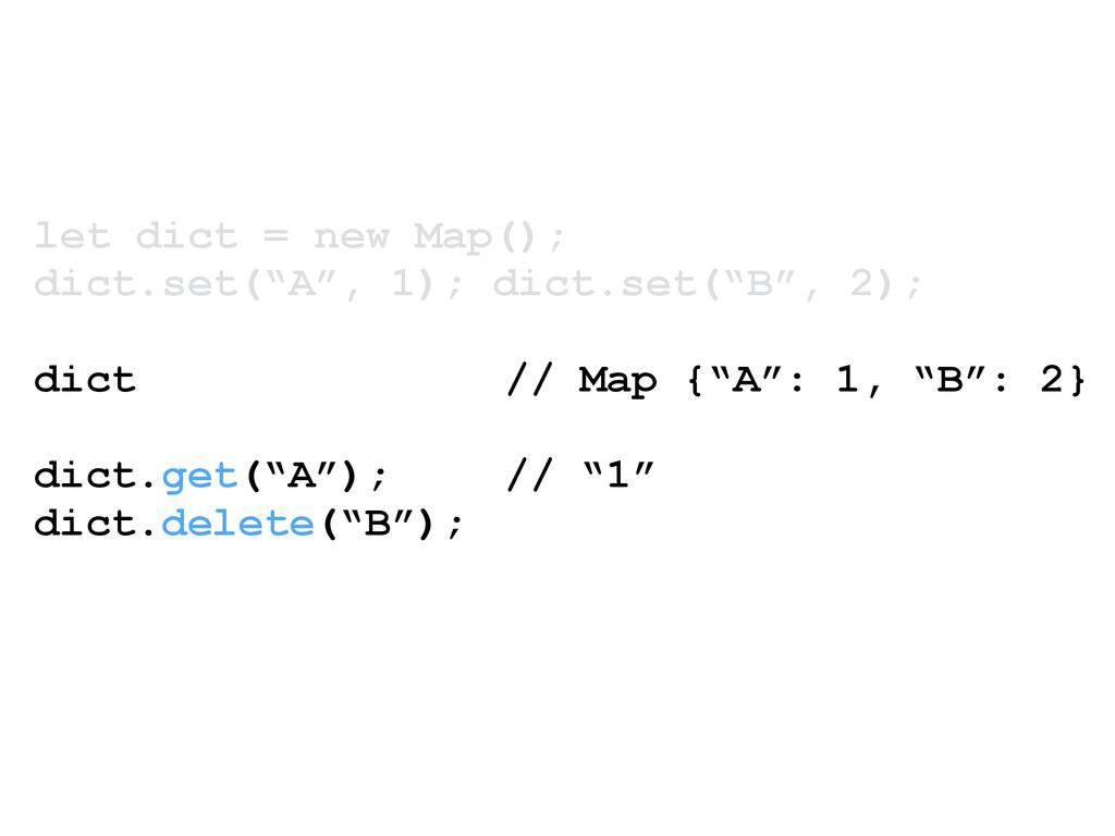 "let dict = new Map(); dict.set(""A"", 1); dict.se..."