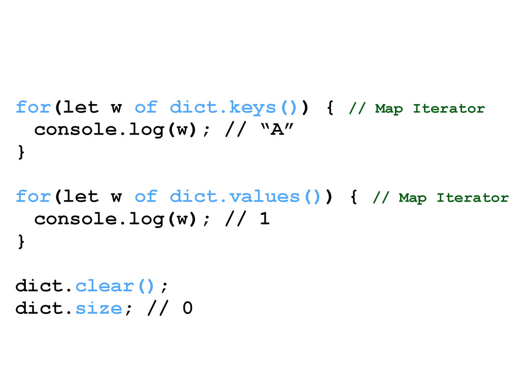 for(let w of dict.keys()) { // Map Iterator con...