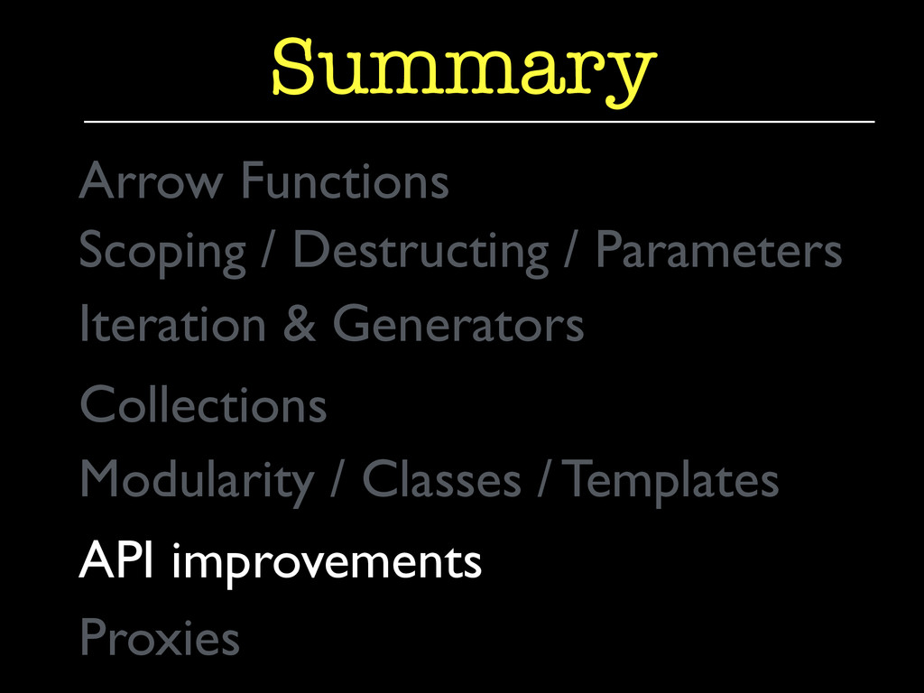 Summary Collections  API improvements  Prox...