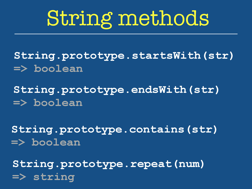 String methods String.prototype.startsWith(str)...