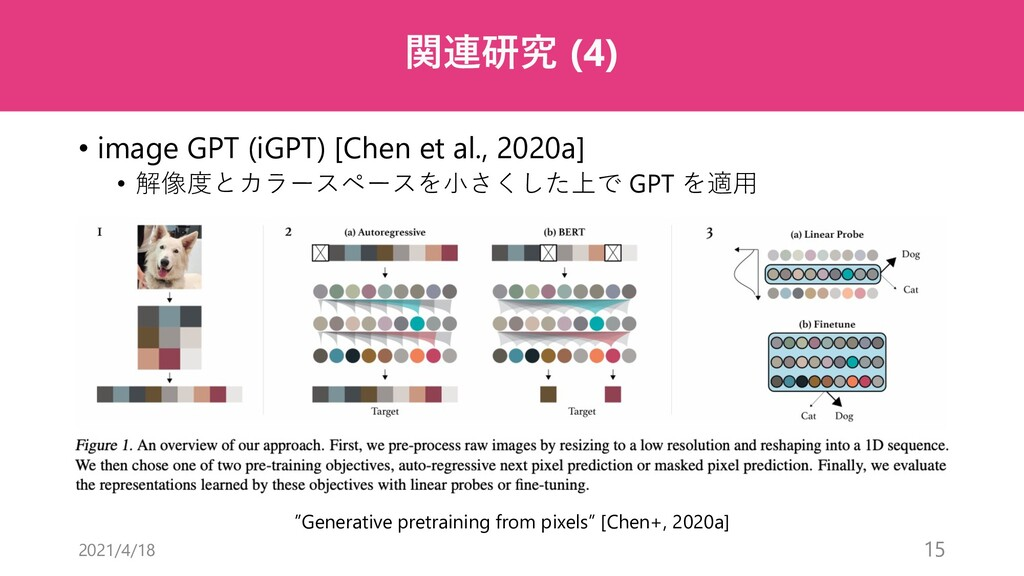 関連研究 (4) • image GPT (iGPT) [Chen et al., 2020a...
