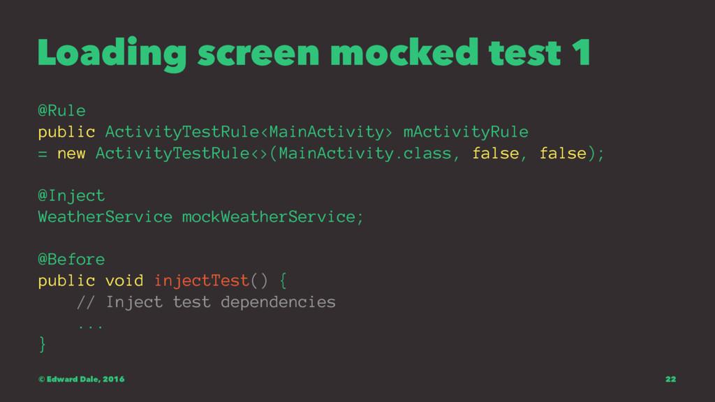 Loading screen mocked test 1 @Rule public Activ...