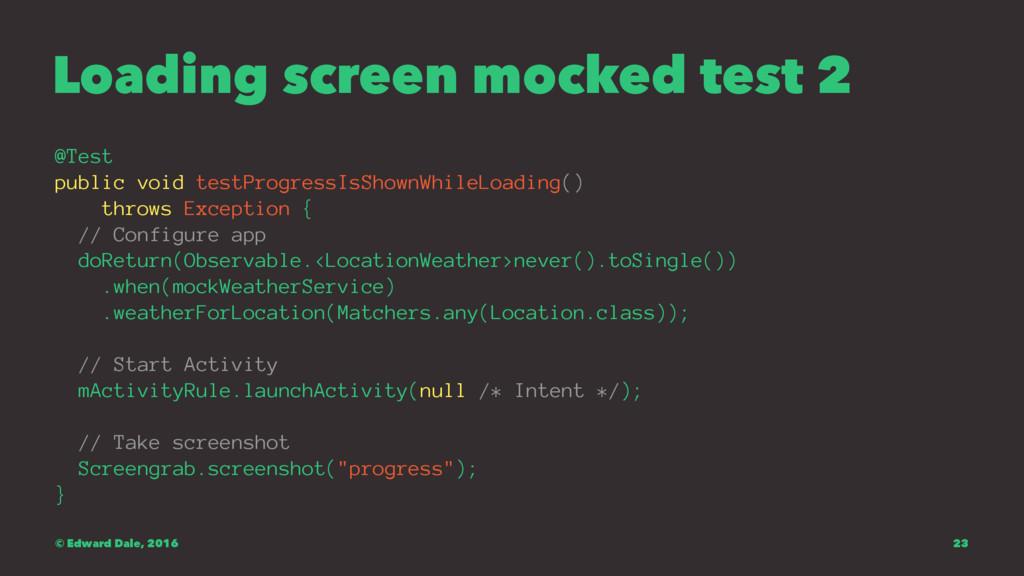 Loading screen mocked test 2 @Test public void ...