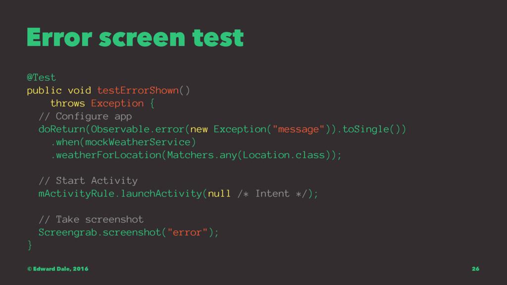 Error screen test @Test public void testErrorSh...
