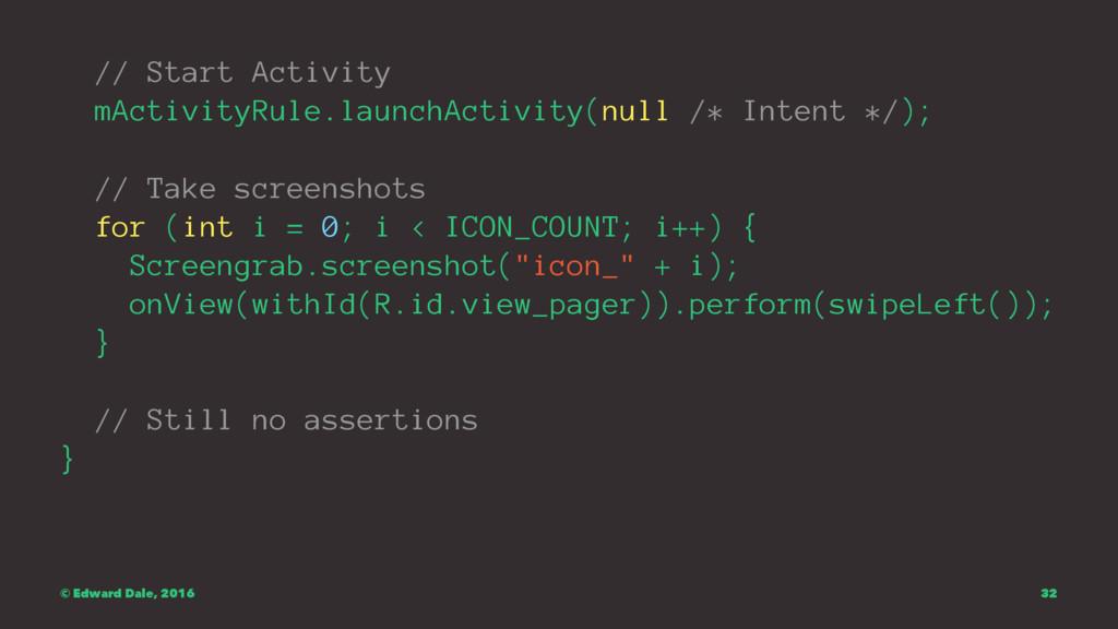 // Start Activity mActivityRule.launchActivity(...