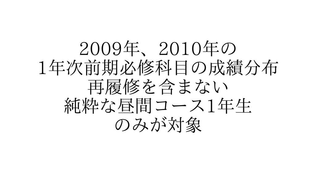 2009年、2010年の 1年次前期必修科目の成績分布 再履修を含まない 純粋な昼間コース1年...