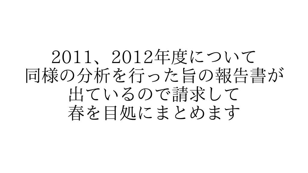2011、2012年度について 同様の分析を行った旨の報告書が 出ているので請求して 春を目処...