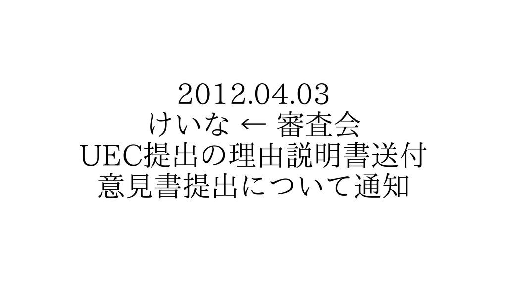 2012.04.03 けいな ← 審査会 UEC提出の理由説明書送付 意見書提出について通知