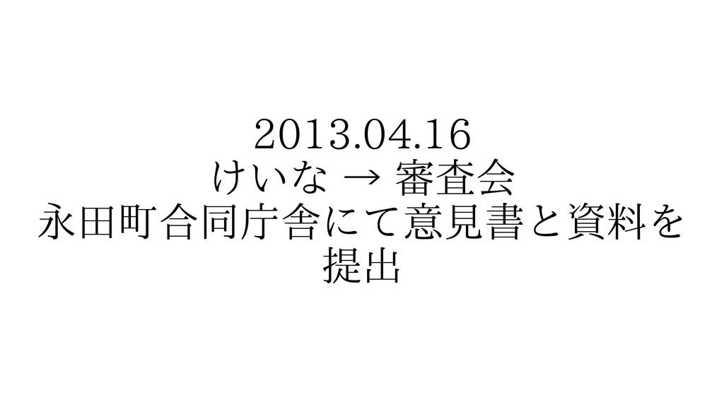 2013.04.16 けいな → 審査会 永田町合同庁舎にて意見書と資料を 提出