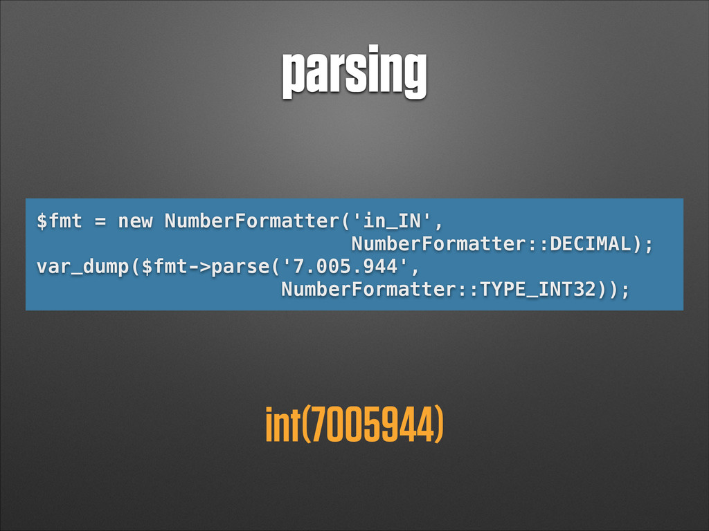 parsing $fmt = new NumberFormatter('in_IN', Num...