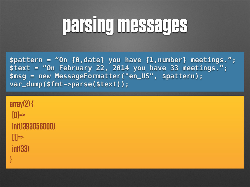 "parsing messages $pattern = ""On {0,date} you ha..."