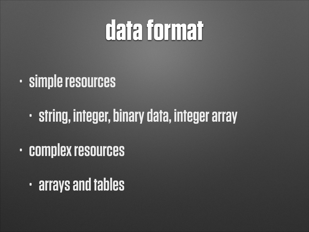 data format • simple resources • string, intege...