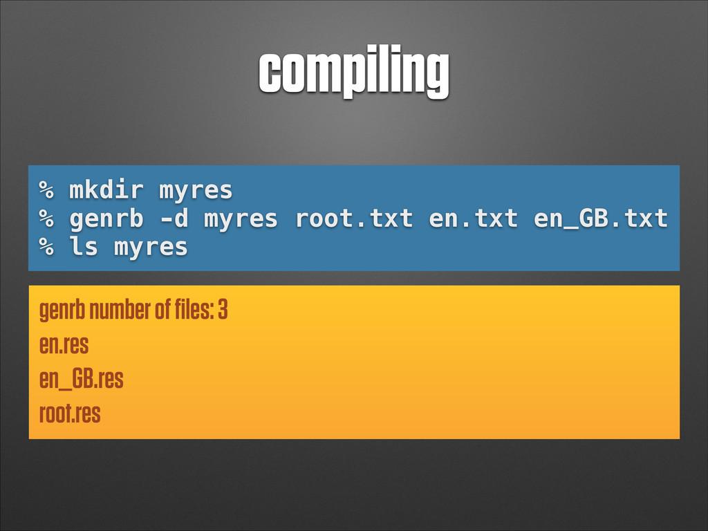 compiling % mkdir myres % genrb -d myres root.t...