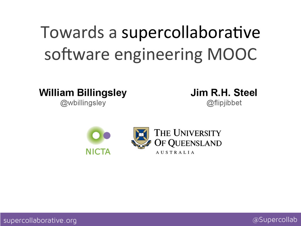 supercollaborative.org @Supercollab Towards ...