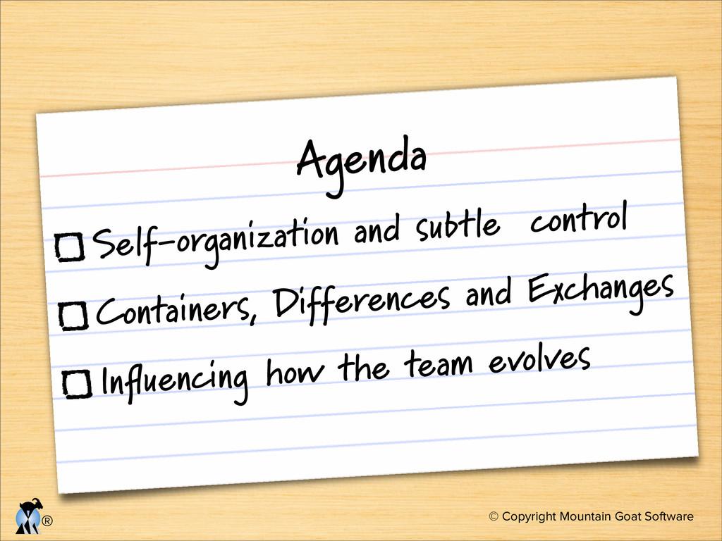 © Copyright Mountain Goat Software ® Agenda Sel...