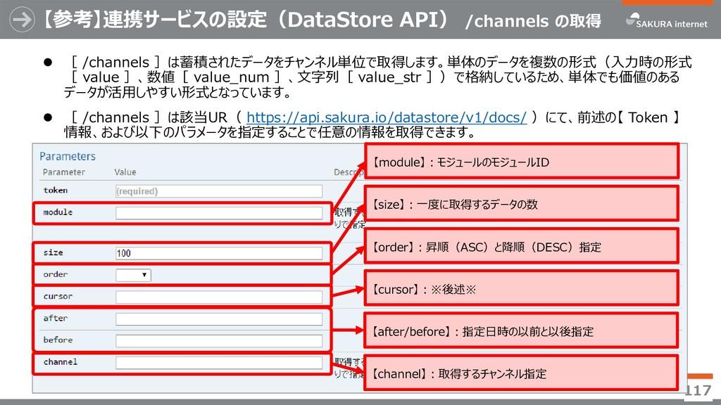 【参考】連携サービスの設定(DataStore API) /channels の取得  [ ...