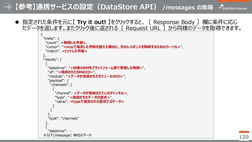 【参考】連携サービスの設定(DataStore API) /messages の取得  指定...