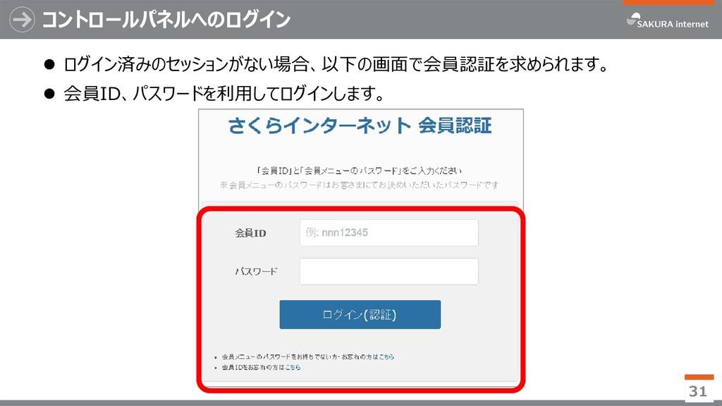 コントロールパネルへのログイン  ログイン済みのセッションがない場合、以下の画面で会員認証を...