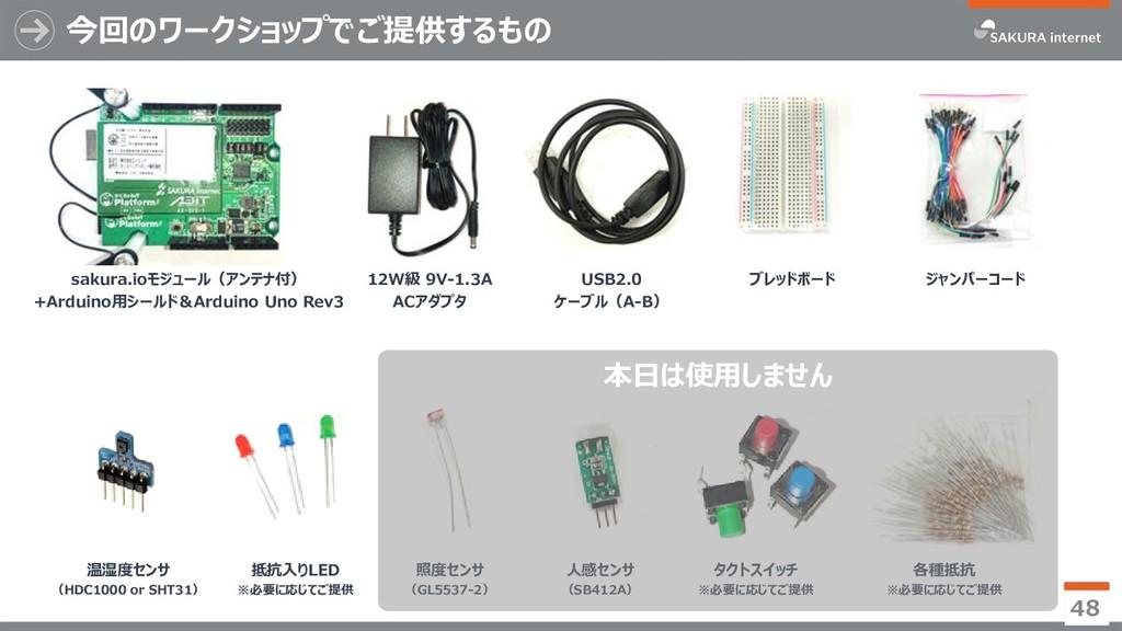 今回のワークショップでご提供するもの 48 ジャンパーコード sakura.ioモジュール(ア...