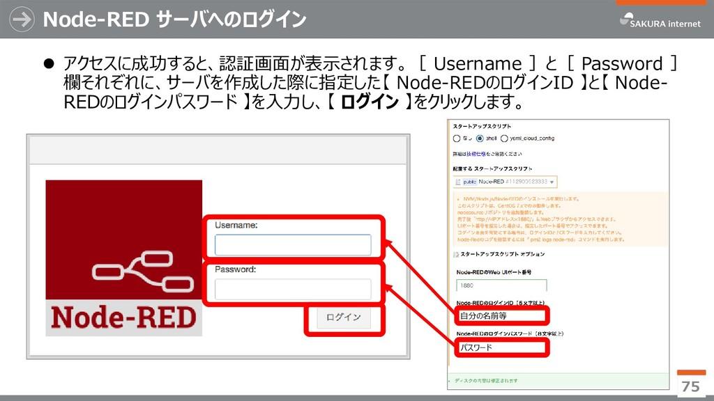 Node-RED サーバへのログイン  アクセスに成功すると、認証画面が表示されます。[ U...