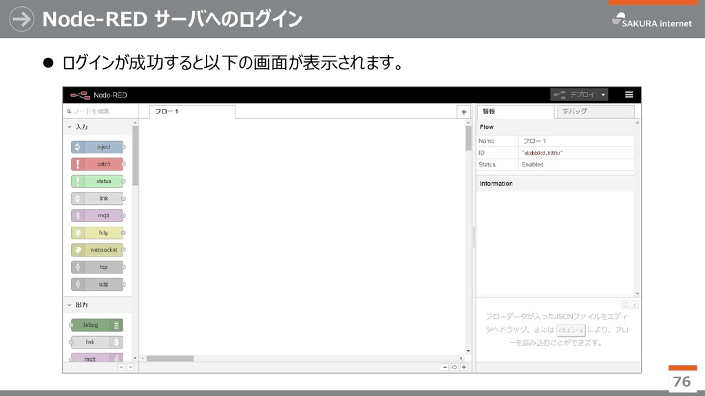 Node-RED サーバへのログイン  ログインが成功すると以下の画面が表示されます。 76