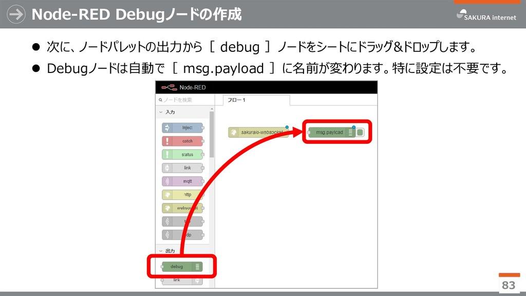 Node-RED Debugノードの作成  次に、ノードパレットの出力から[ debug ]...