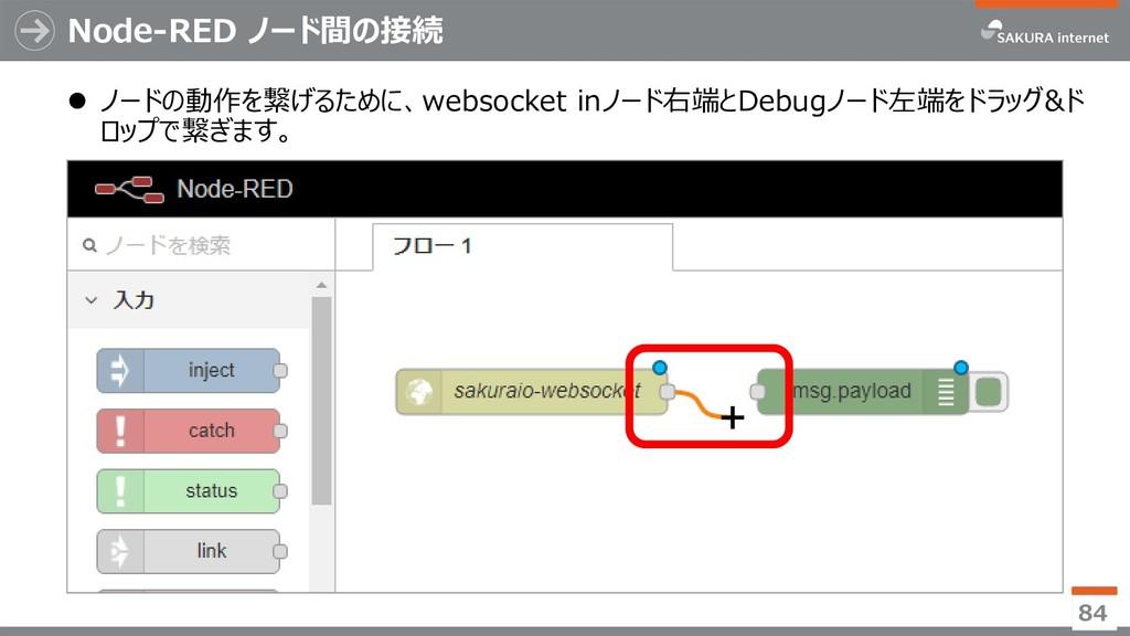 Node-RED ノード間の接続  ノードの動作を繋げるために、websocket inノー...