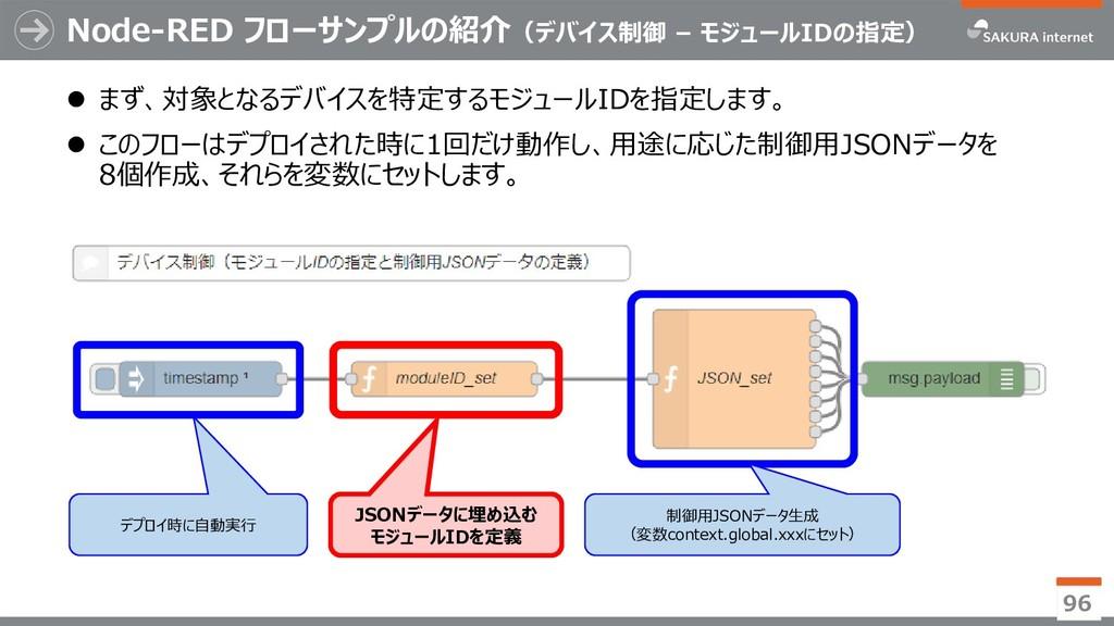 Node-RED フローサンプルの紹介(デバイス制御 – モジュールIDの指定)  まず、対...