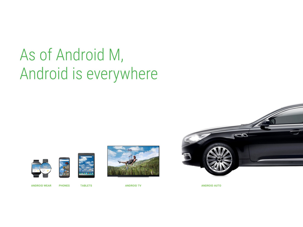As of Android M, Android is everywhere