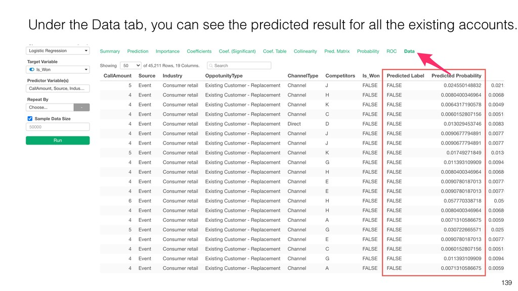 139 Under the Data tab, you can see the predict...