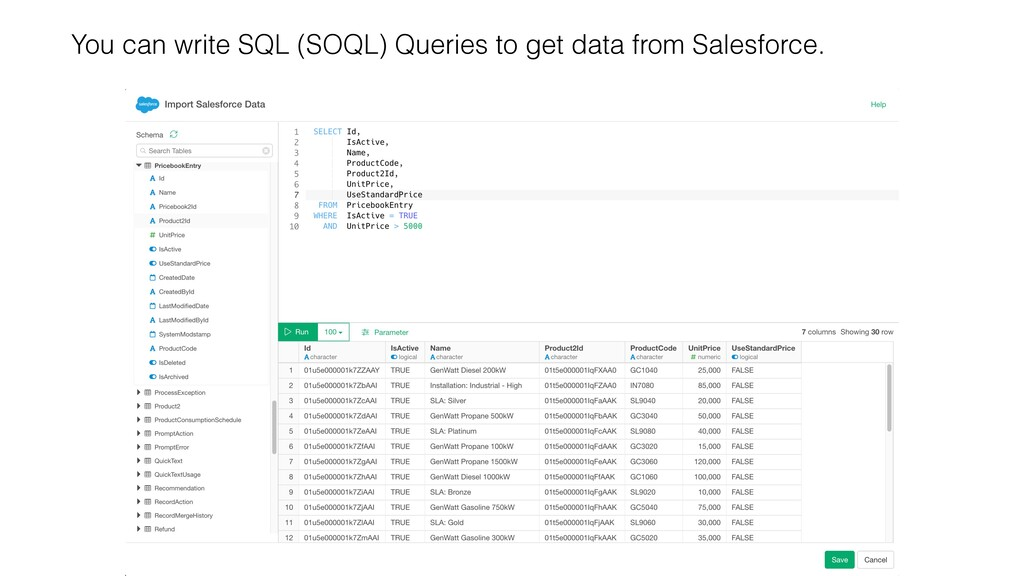 You can write SQL (SOQL) Queries to get data fr...