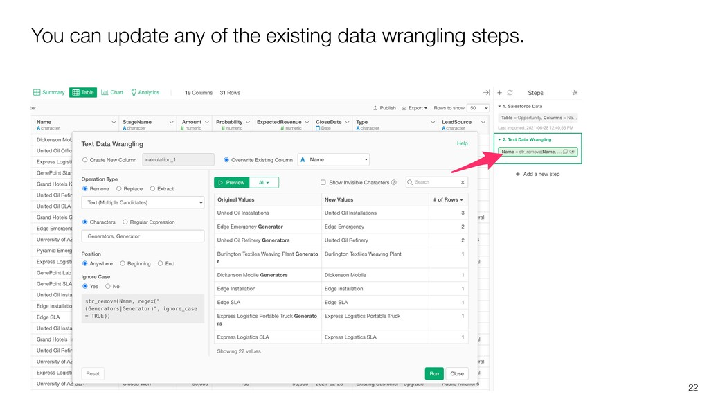 You can update any of the existing data wrangli...