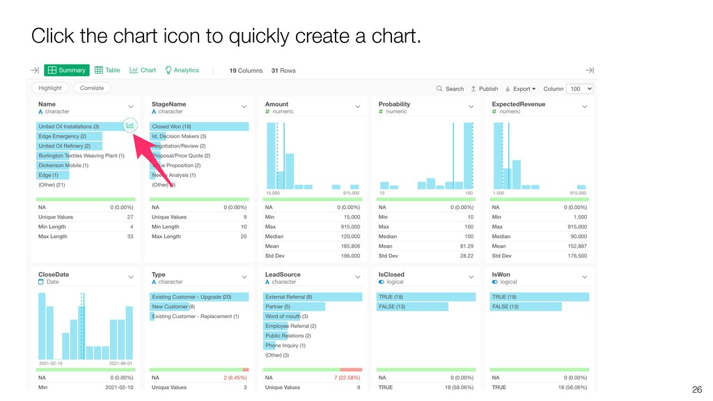 Click the chart icon to quickly create a chart....