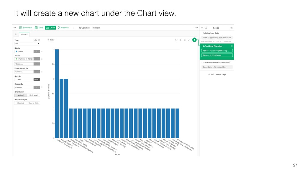 27 It will create a new chart under the Chart v...