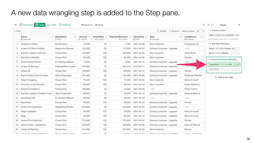 A new data wrangling step is added to the Step ...
