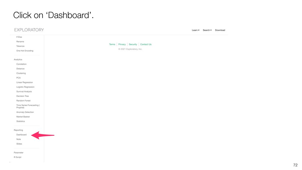 Click on 'Dashboard'. 72